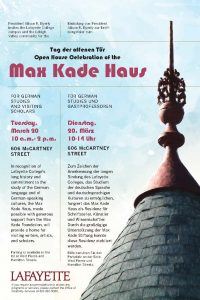 Grand Opening Celebration for the MAX KADE HAUS FOR GERMAN STUDIES: March 20, 2018